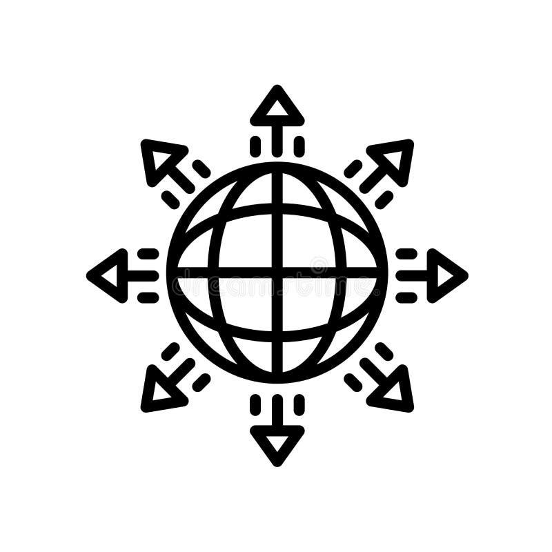 σφαιρικό εικονίδιο επέκτασης που απομονώνεται στο άσπρο υπόβαθρο ελεύθερη απεικόνιση δικαιώματος