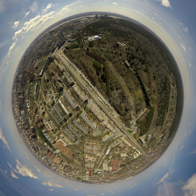Σφαιρικό πανόραμα 360 βαθμών της πόλης στοκ εικόνα