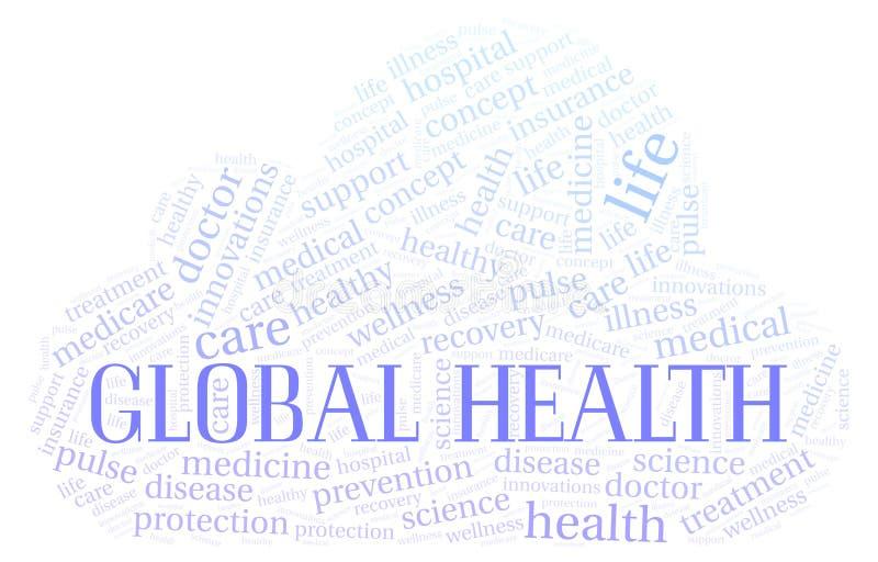 Σφαιρικό σύννεφο λέξης υγείας διανυσματική απεικόνιση