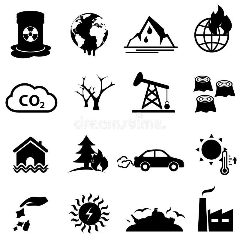 Σφαιρικό σύνολο εικονιδίων θέρμανσης και κλιματικής αλλαγής στοκ εικόνες με δικαίωμα ελεύθερης χρήσης