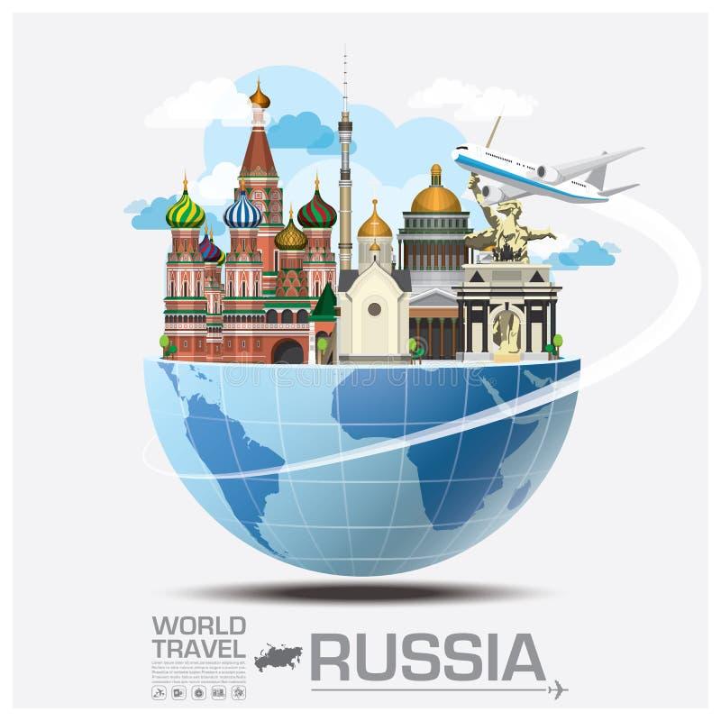 Σφαιρικό ταξίδι και ταξίδι Infographic ορόσημων της Ρωσίας απεικόνιση αποθεμάτων