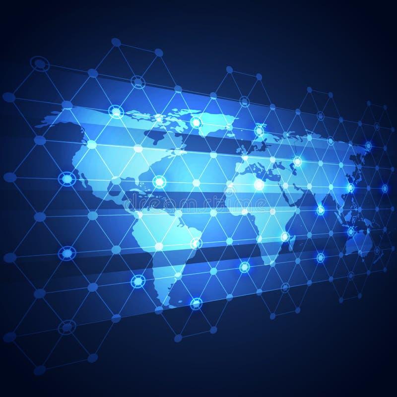 Σφαιρικό υπόβαθρο τεχνολογίας επιχειρησιακών δικτύων, διάνυσμα απεικόνιση αποθεμάτων
