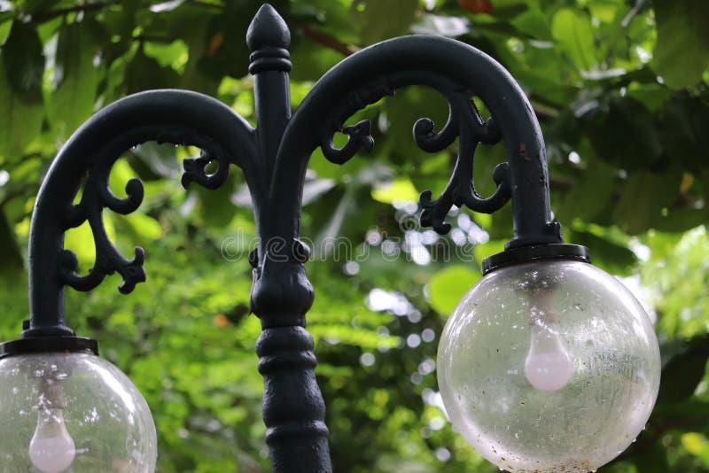 Σφαιρικό streetlamp σε ένα πράσινο πάρκο στοκ φωτογραφίες με δικαίωμα ελεύθερης χρήσης