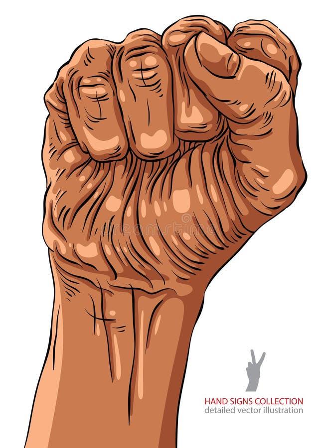 Σφιγγμένη πυγμή που κρατιέται υψηλή στο σημάδι χεριών διαμαρτυρίας, αφρικανικά απεικόνιση αποθεμάτων