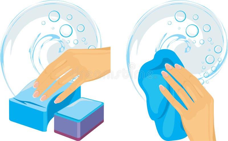 Σφουγγάρια και καθαρίζοντας κουρέλι στο θηλυκό χέρι διανυσματική απεικόνιση