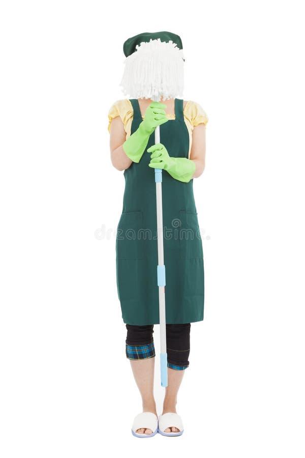 Σφουγγαρίστρα εκμετάλλευσης γυναικών έτοιμη για καθαρό στοκ φωτογραφίες με δικαίωμα ελεύθερης χρήσης
