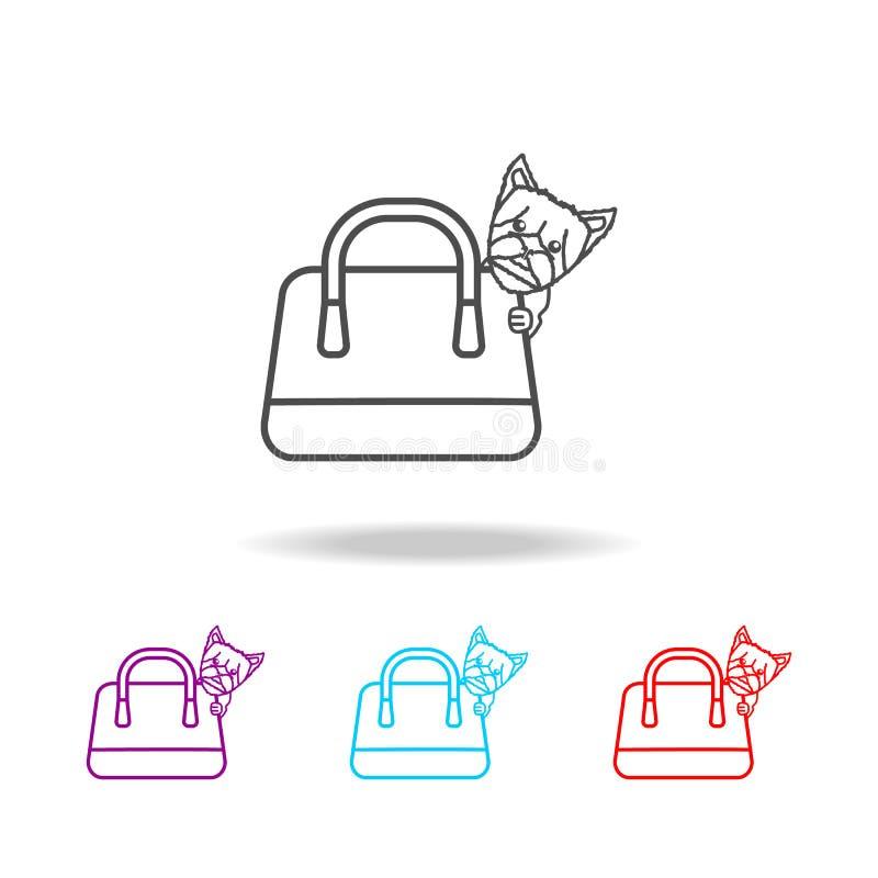Σφουγγαρίστρες σκυλιών μαλαγμένου πηλού στο εικονίδιο τσαντών Στοιχεία του τρόπου ζωής στα πολυ χρωματισμένα εικονίδια Γραφικό ει ελεύθερη απεικόνιση δικαιώματος