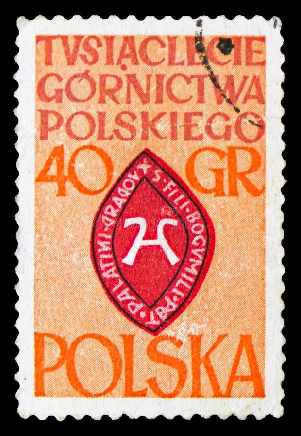 Σφραγίδα της οικογένειας kopasyni, 1000 έτη της πολωνικής εξορυκτικής βιομηχανίας serie, circa 1961 στοκ εικόνα με δικαίωμα ελεύθερης χρήσης
