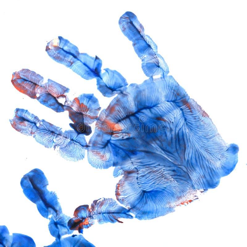 Σφραγίδα του χεριού παιδιών ` s με την γκουας στοκ εικόνα με δικαίωμα ελεύθερης χρήσης
