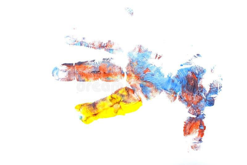 Σφραγίδα του χεριού παιδιών ` s με την γκουας διανυσματική απεικόνιση