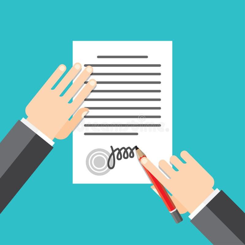 Σφραγισμένη η έγγραφο λαβή βάζει την υπογραφή του διανυσματική απεικόνιση