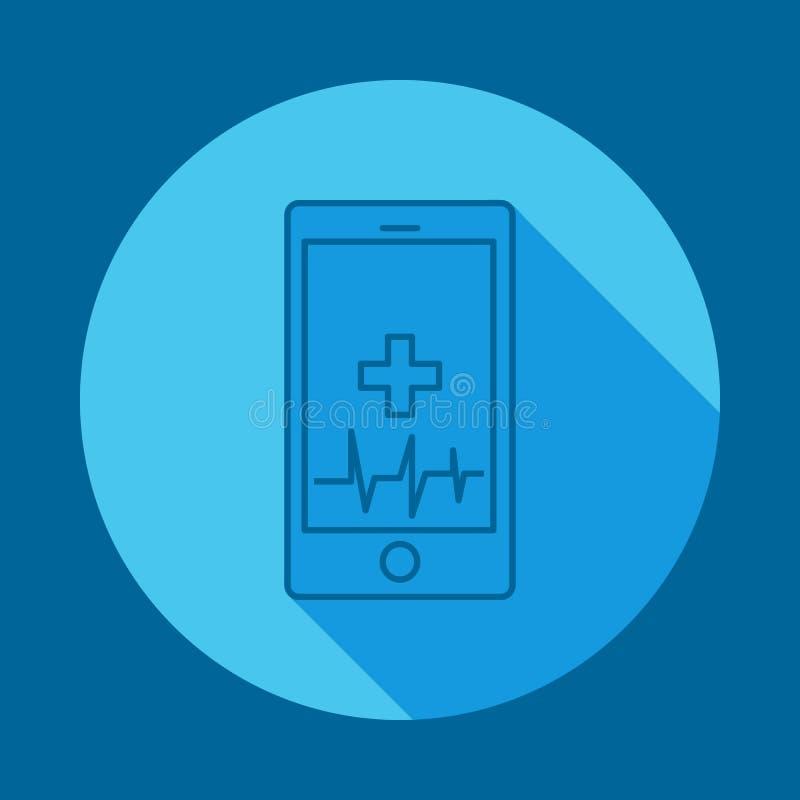 σφυγμός τηλεφωνικής υγείας επίπεδο μακροχρόνιο εικονίδιο σκιών Στοιχείο του εικονιδίου ιατρικής για την κινητούς έννοια και τον Ι απεικόνιση αποθεμάτων
