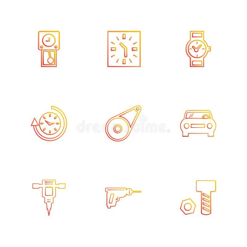 σφυρί γρύλων, καρύδι, μπουλόνι, ρολόι, χρόνος, ρολόι, alaram, ημέρα, διανυσματική απεικόνιση