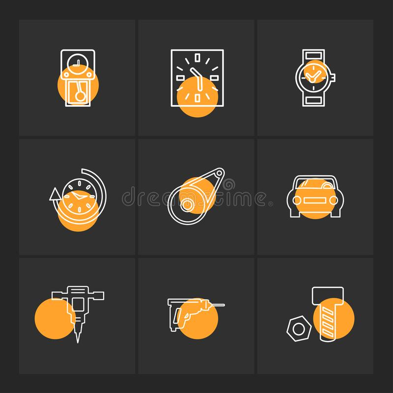 σφυρί γρύλων, καρύδι, μπουλόνι, ρολόι, χρόνος, ρολόι, alaram, ημέρα απεικόνιση αποθεμάτων