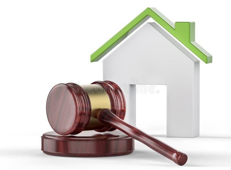 Σφυρί δικαστών και σπίτι eco διανυσματική απεικόνιση