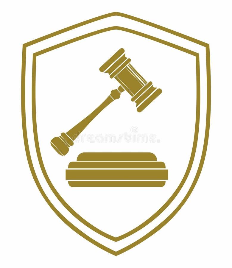 σφυρί με το νόμο και το δικαστήριο συμβόλων ασπίδων διανυσματική απεικόνιση