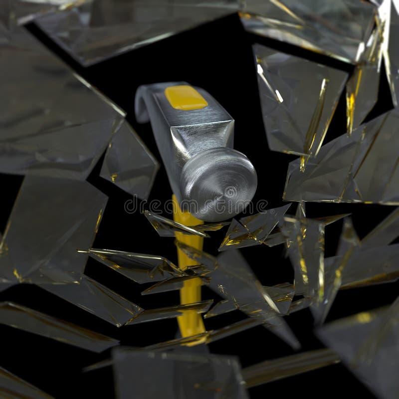Σφυρί που συνθλίβει ένα υπόβαθρο έννοιας γυαλιού στοκ φωτογραφία