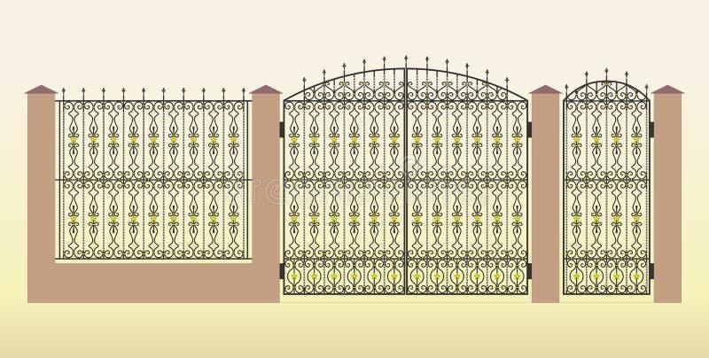 Σφυρηλατημένες πύλη, wicket και φραγή διανυσματική απεικόνιση