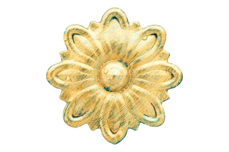 Σφυρηλατημένο σίδηρος λουλούδι που χρωματίζεται στο χρυσό Εκλεκτής ποιότητας στοιχείο διακοσμήσεων μετάλλων Αναδρομική μεταλλική  στοκ εικόνα
