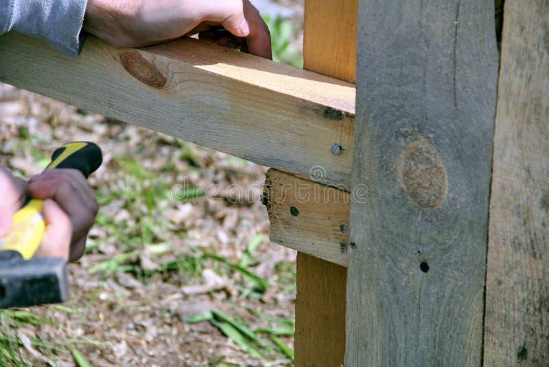 Σφυριά ξυλουργών ένα καρφί με ένα σφυρί στοκ φωτογραφίες με δικαίωμα ελεύθερης χρήσης
