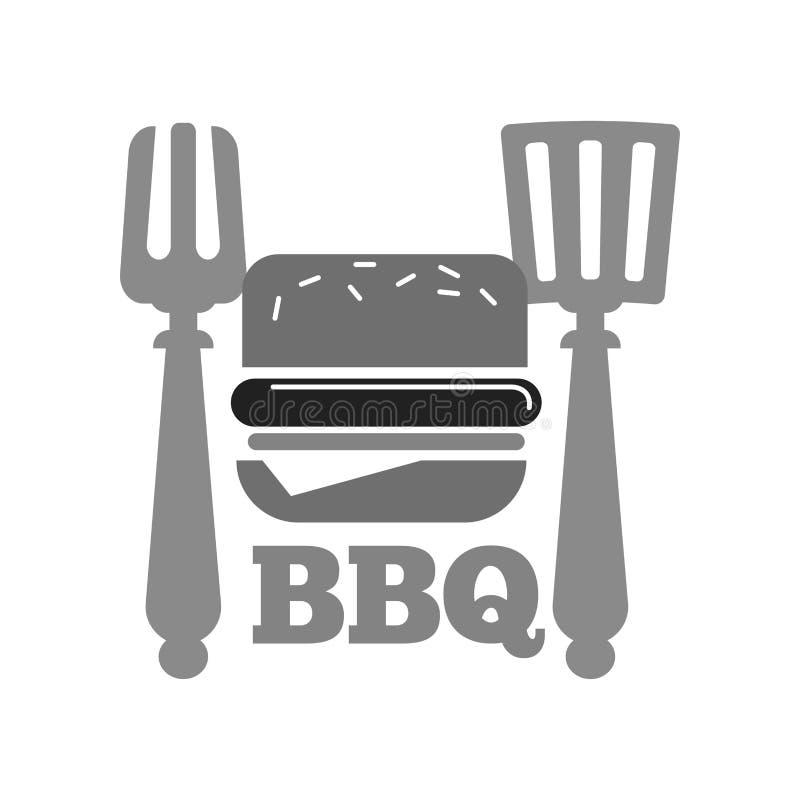 Σχάρα ή bbq burger σχαρών ή διανυσματικό εικονίδιο λουκάνικων χοτ-ντογκ διανυσματική απεικόνιση