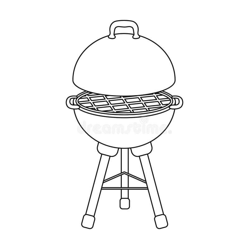 Σχάρα για τη σχάρα BBQ ενιαίο εικονίδιο στο διανυσματικό Ιστό απεικόνισης αποθεμάτων συμβόλων ύφους περιλήψεων διανυσματική απεικόνιση