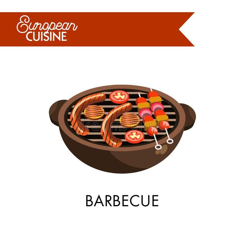 Σχάρα στη σχάρα από την ευρωπαϊκή απομονωμένη κουζίνα απεικόνιση ελεύθερη απεικόνιση δικαιώματος