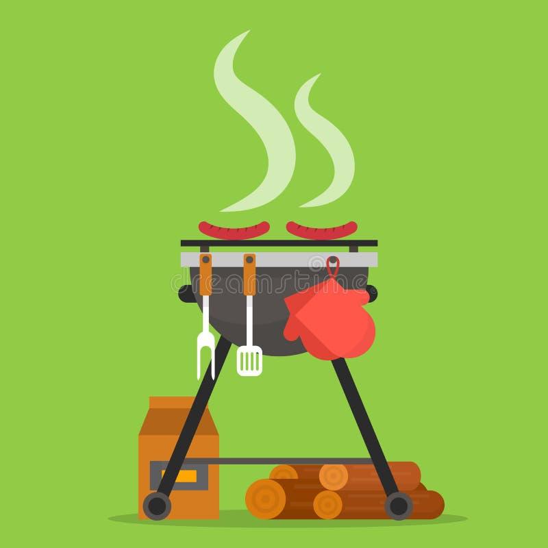 σχάρα Σχάρα με τα εργαλεία και το καυσόξυλο διανυσματική απεικόνιση