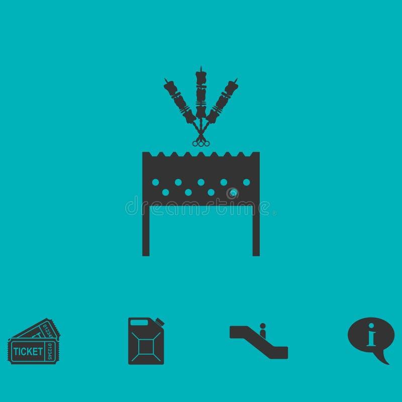 Σχάρα σχαρών με το εικονίδιο shashlik επίπεδο ελεύθερη απεικόνιση δικαιώματος
