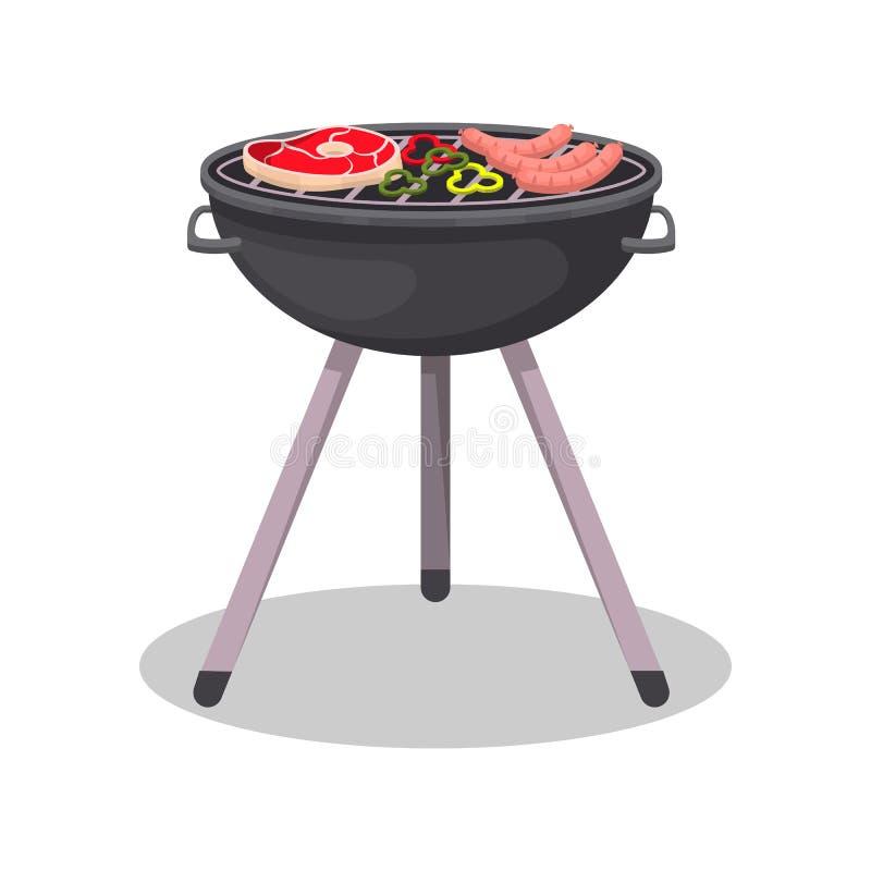 Σχάρα σχαρών με το ψημένο στη σχάρα εικονίδιο μπριζόλας κρέατος απεικόνιση αποθεμάτων