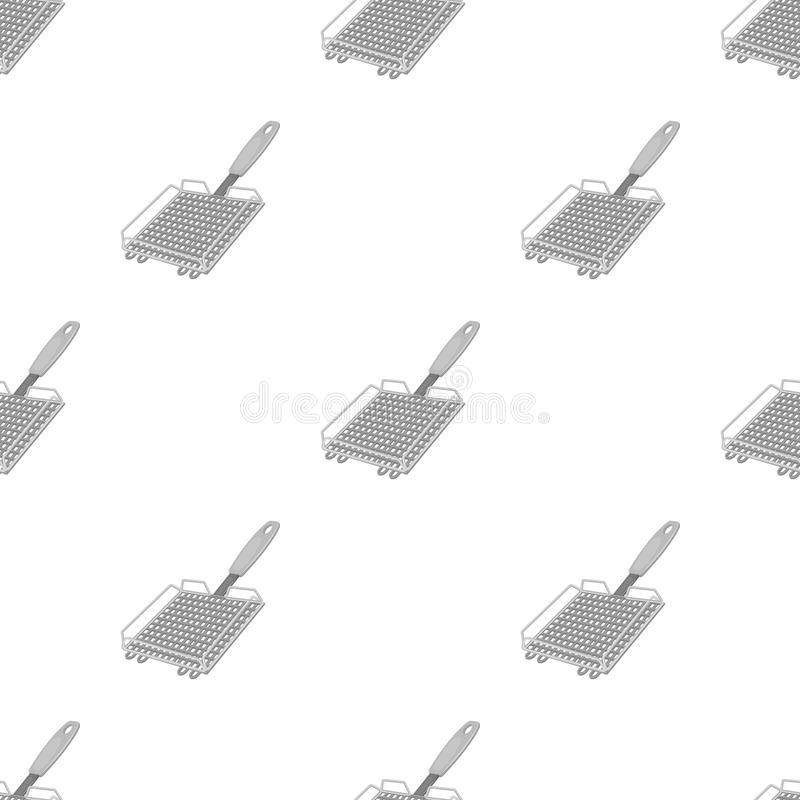 Σχάρα σχαρών BBQ ενιαίο εικονίδιο στο μονοχρωματικό Ιστό απεικόνισης αποθεμάτων συμβόλων ύφους διανυσματικό απεικόνιση αποθεμάτων