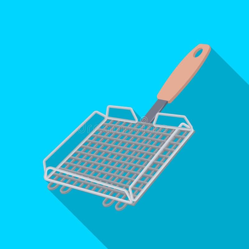 Σχάρα σχαρών BBQ ενιαίο εικονίδιο στον επίπεδο Ιστό απεικόνισης αποθεμάτων συμβόλων ύφους διανυσματικό ελεύθερη απεικόνιση δικαιώματος