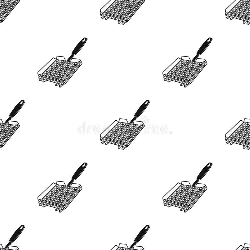 Σχάρα σχαρών BBQ ενιαίο εικονίδιο στο μαύρο Ιστό απεικόνισης αποθεμάτων συμβόλων ύφους διανυσματικό απεικόνιση αποθεμάτων