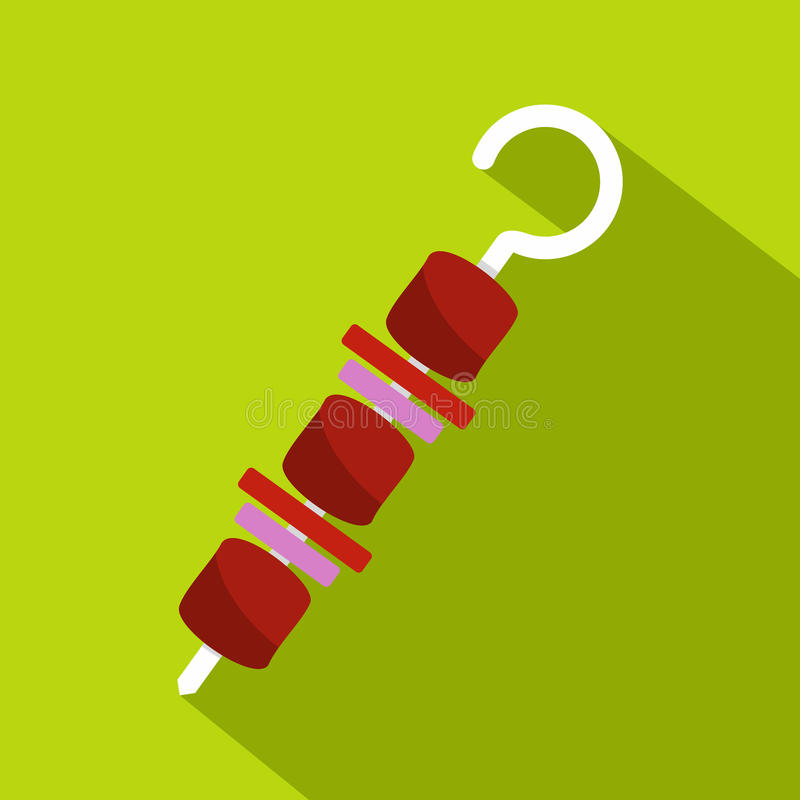 Σχάρα kebab στο εικονίδιο οβελιδίων, επίπεδο ύφος διανυσματική απεικόνιση