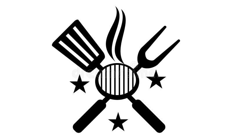 Σχάρες εστιατορίων λογότυπων ελεύθερη απεικόνιση δικαιώματος