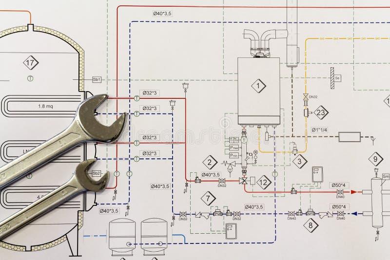 Σχέδια γαλλικών κλειδιών και προγράμματος με το σύστημα υδραυλικών στοκ εικόνα με δικαίωμα ελεύθερης χρήσης