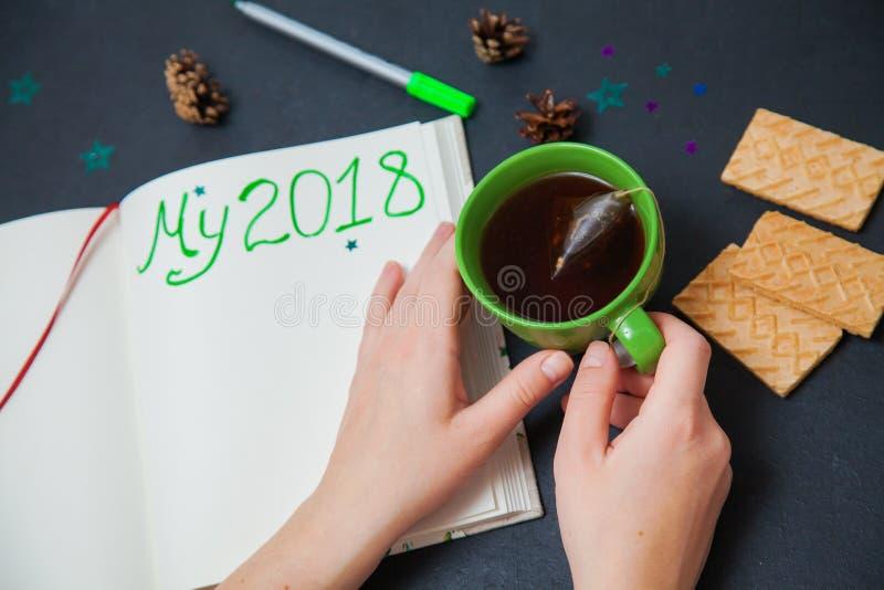 Σχέδια γραψίματος για το νέο έτος το 2018 μου για να κάνει τον κατάλογο στοκ εικόνες