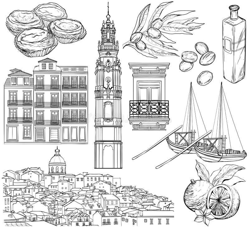 Σχέδια της Πορτογαλίας καθορισμένα επίσης corel σύρετε το διάνυσμα απεικόνισης διανυσματική απεικόνιση