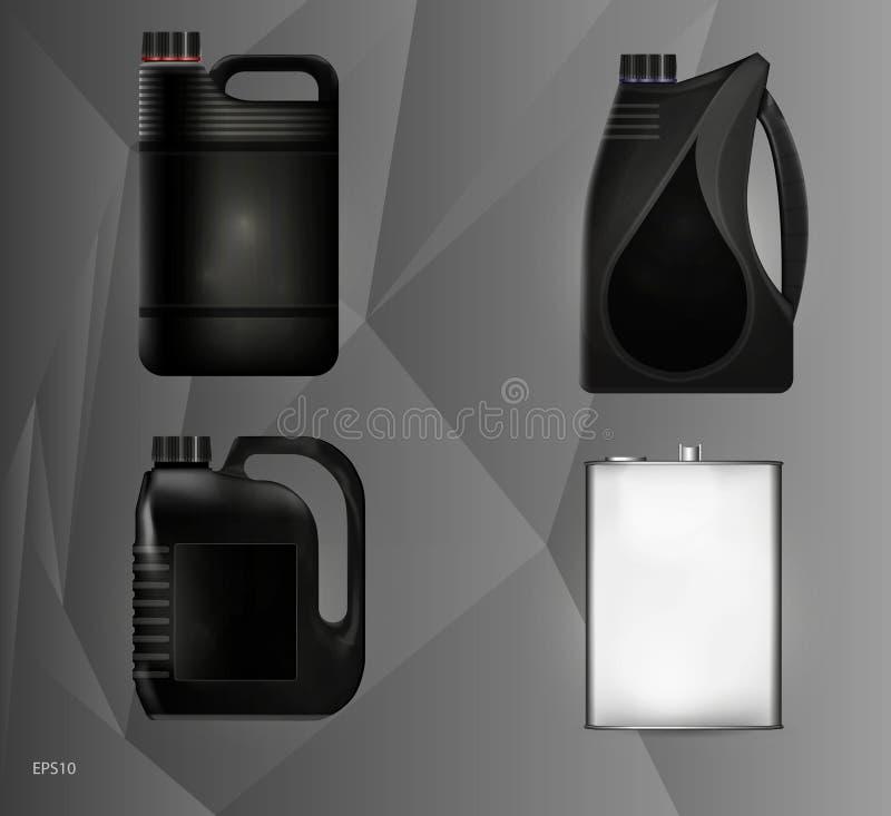 Σχέδια των δοχείων πλαστικού και μετάλλων για το πετρέλαιο μηχανών και τα τεχνικά ρευστά διανυσματική απεικόνιση