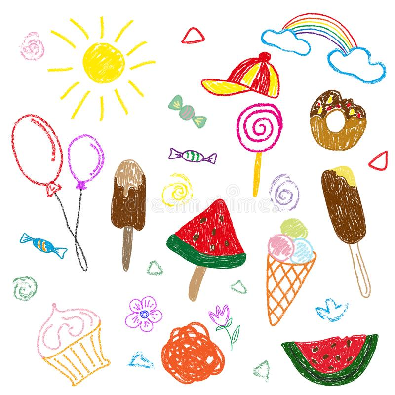 Σχέδια χρώματος παιδιών s στο μολύβι και την κιμωλία στο θέμα του καλοκαιριού και των γλυκών Χωριστά στοιχεία σε ένα άσπρο υπόβαθ απεικόνιση αποθεμάτων