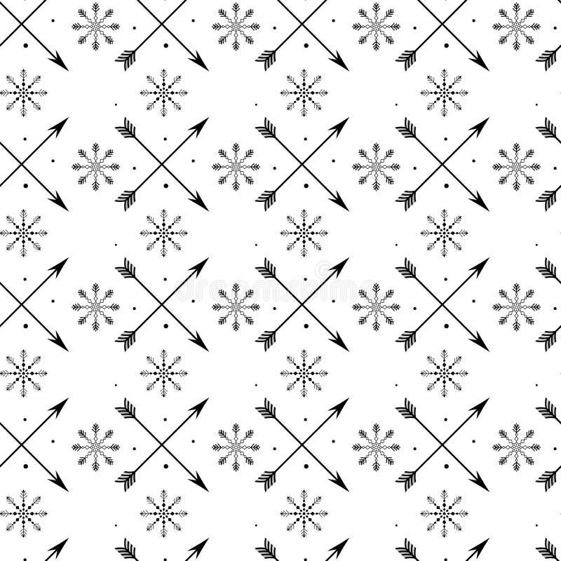 Διάνυσμα, τέχνη συνδετήρων, χέρι που σύρεται Σχέδιο, άνευ ραφής, αστέρια, μωρό, snowflakes, σημάδια, βέλη, διακόσμηση, boho, υφαν απεικόνιση αποθεμάτων