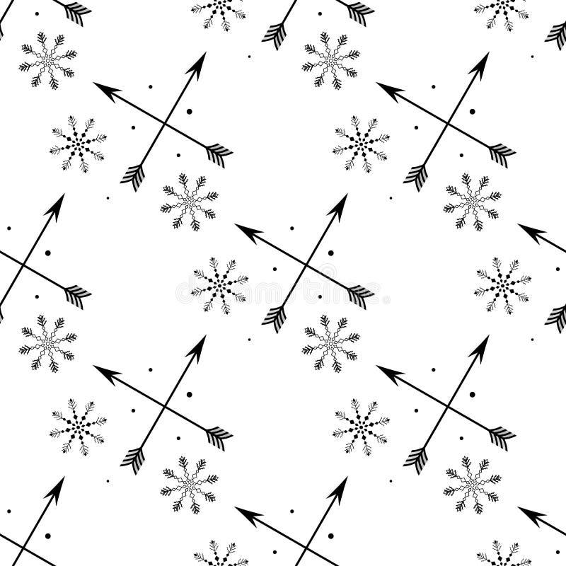 Διάνυσμα, τέχνη συνδετήρων, χέρι που σύρεται Σχέδιο, άνευ ραφής, αστέρια, μωρό, snowflakes, σημάδια, βέλη, διακόσμηση, boho, υφαν διανυσματική απεικόνιση
