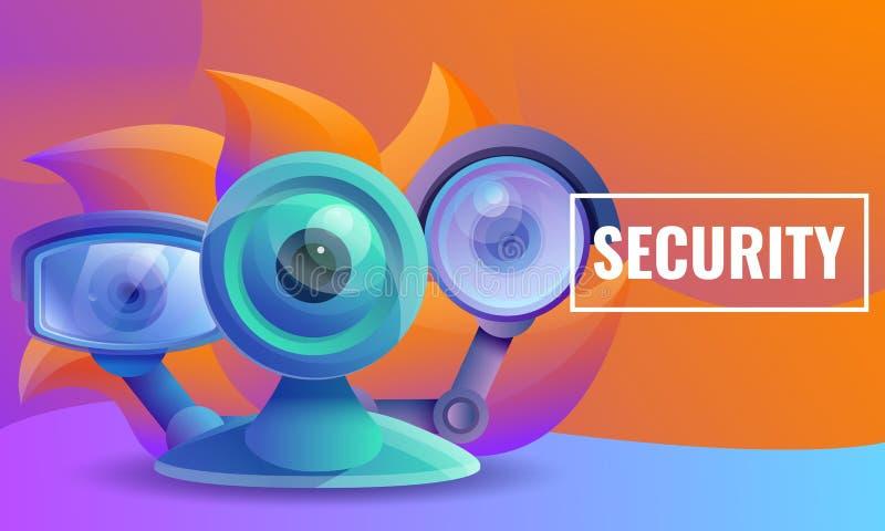 Σχέδιο έννοιας ασφάλειας και κάμερα παρακολούθησης διανυσματική απεικόνιση