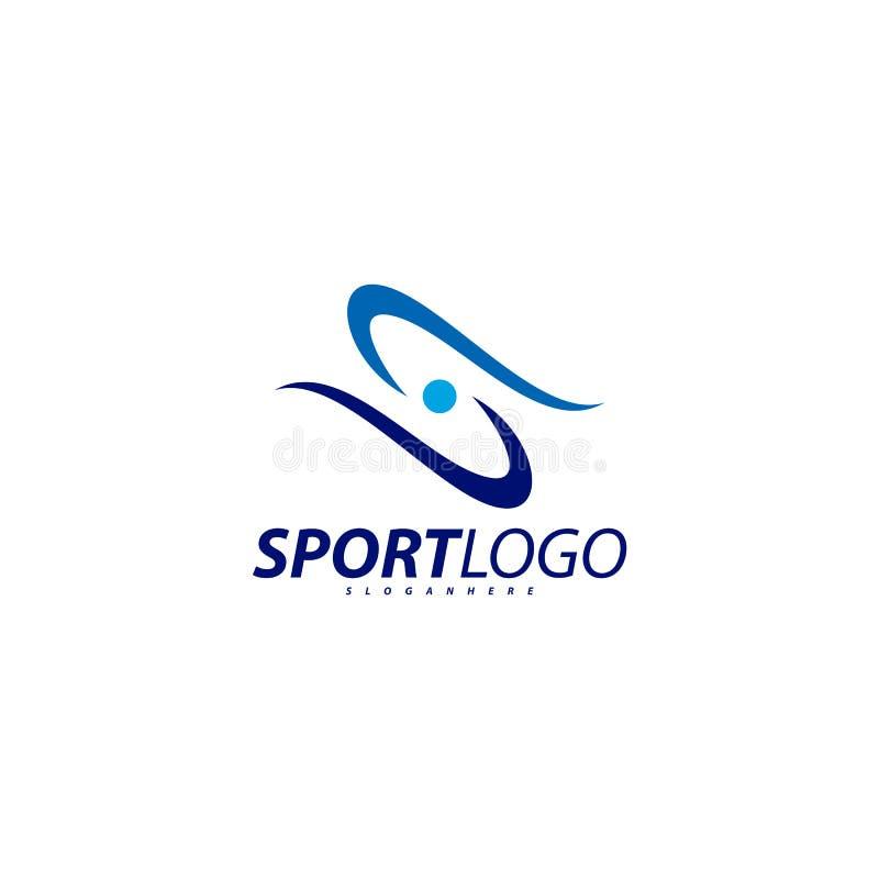 Σχέδιο αθλητικών συμβόλων, διανυσματικό λογότυπο εικονιδίων ανθρώπων ικανότητας, ικανότητα ταχύτητας, τρέξιμο, κολύμβηση, που πηδ διανυσματική απεικόνιση