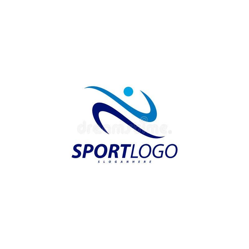 Σχέδιο αθλητικών συμβόλων, διανυσματικό λογότυπο εικονιδίων ανθρώπων ικανότητας, ικανότητα ταχύτητας, τρέξιμο, κολύμβηση, που πηδ απεικόνιση αποθεμάτων