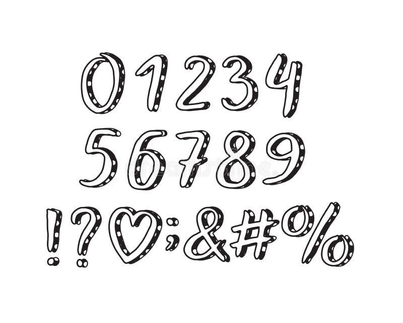 Σχέδιο αλφάβητου doodle Αριθμοί και σημεία στίξης 10 eps απεικόνιση αποθεμάτων