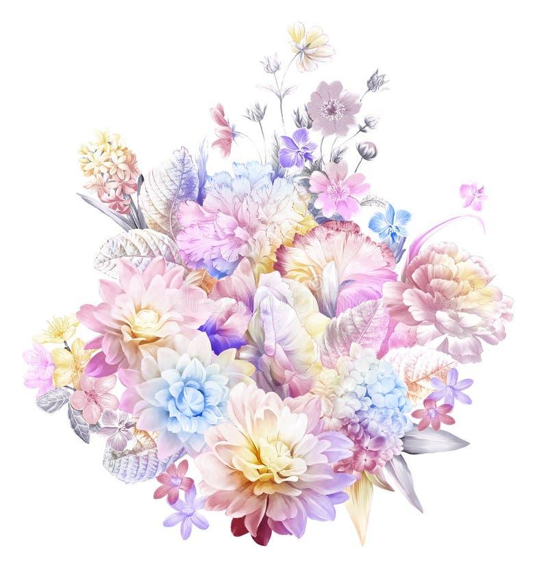 σχέδιο απεικόνισης λουλουδιών στο απλό υπόβαθρο ελεύθερη απεικόνιση δικαιώματος
