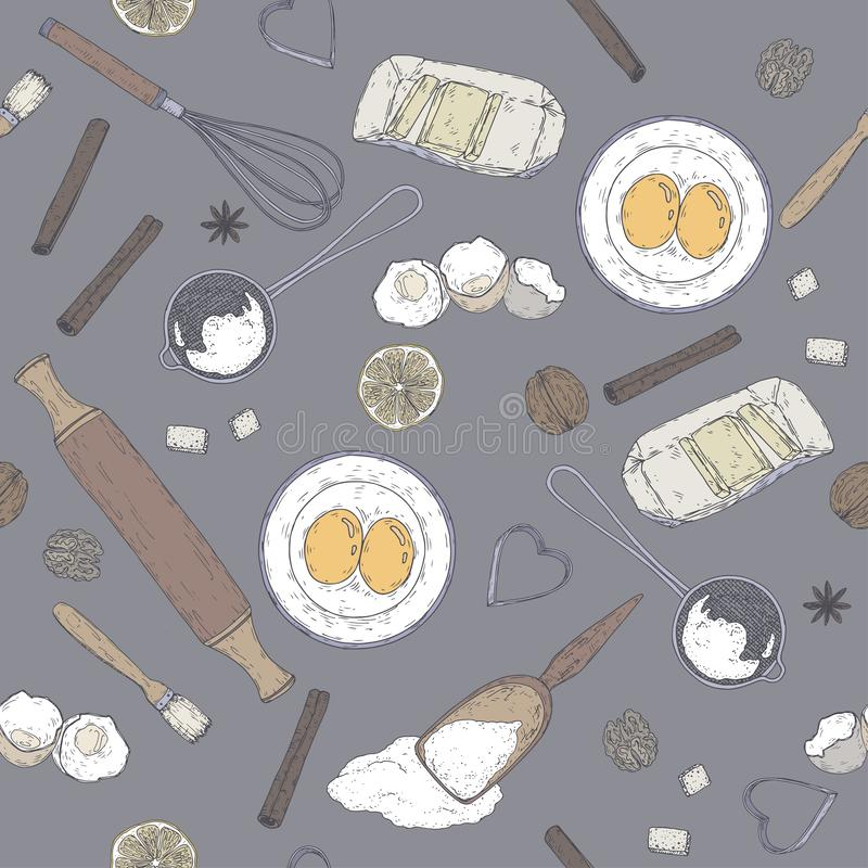 Σχέδιο αρτοποιείων χρώματος με την κυλώντας καρφίτσα, beater, φόρμα, διηθητήρας, αλεύρι, αυγά, βούτυρο, λεμόνι, καρυκεύματα Συρμέ απεικόνιση αποθεμάτων