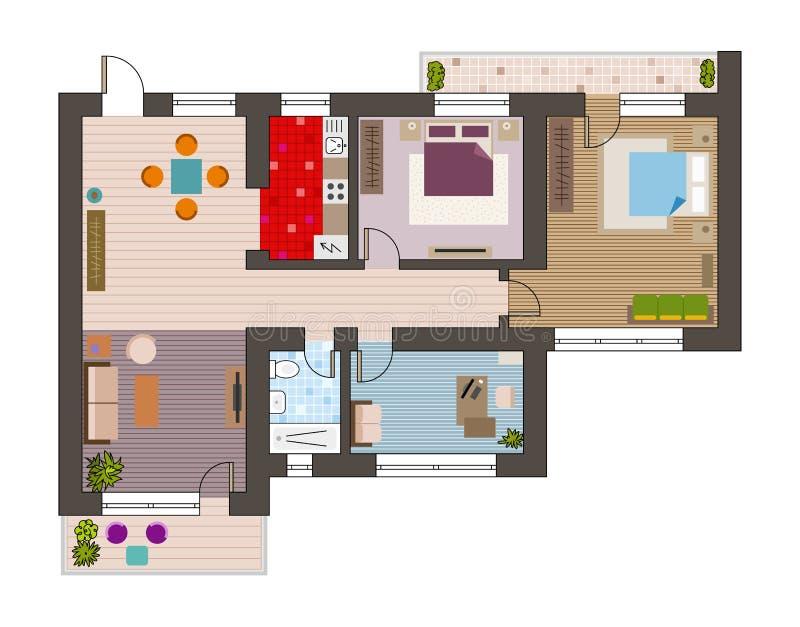 Σχέδιο αρχιτεκτονικής με τα έπιπλα κατά τη τοπ άποψη ελεύθερη απεικόνιση δικαιώματος