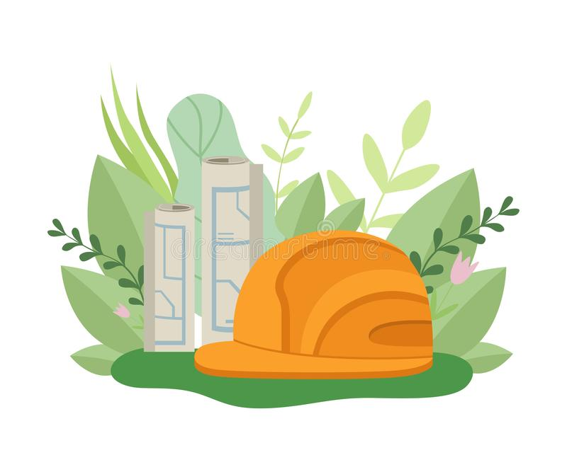 Σχέδιο αρχιτεκτονικής, πορτοκαλί σκληρό καπέλο ασφάλειας, άνοιξη ή θερινή περίοδο με τα ανθίζοντας λουλούδια και τη διανυσματική  ελεύθερη απεικόνιση δικαιώματος